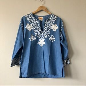 Vintage chambray embroidered tunic